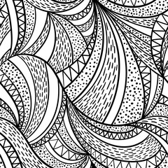 Hand-drawn zentangle waves seamless pattern. Vector doodle illustration.