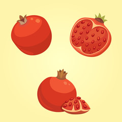 Whole and cut pomegranate icon set. Cartoon healty fruit heart isolated vector illustration. Vegeterian vegan diet food. Ripe
