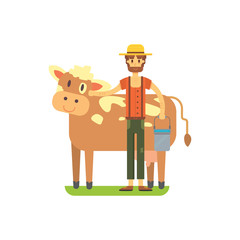 Cute farmer with cows standing, flat illustration. Cow farm. organic product.