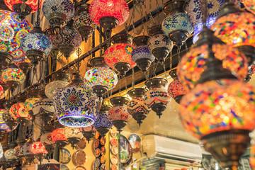 Vintage Turkish Lamps in Grand Bazaar Istanbul, Turkey