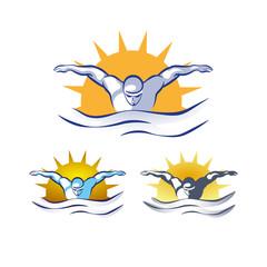 Modern Vector Abstract Swimming Logo