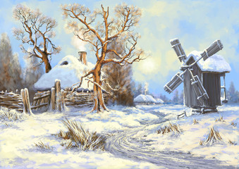 Winter landscape,painting, digital art
