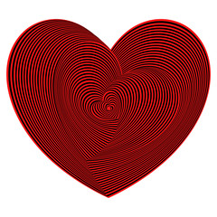 Heart shapes sequence in red and black colors