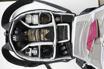 .Backpack for photographers with photo equipment