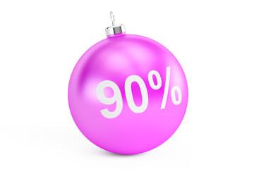 Christmas Sale concept, 90% 3D rendering