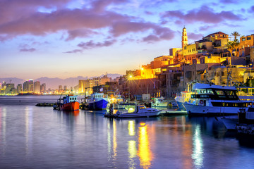 Yafo old town port on sunset, Tel Aviv, Israel