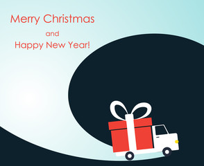 Christmas and New Year greeting card with gift delivery van goes on winter road. Vector illustration.
