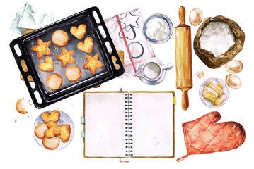 Baking Cookies. Watercolor Illustration with blank space for text.
