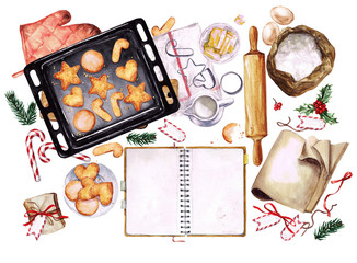 Baking Christmas Cookies. Watercolor Illustration with blank space for text.