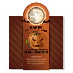 Halloween card.  Happy Halloween. Jack-o'-lantern (Jack o lantern), full moon, bats and lettering on a retro background. Henger. Vector illustration