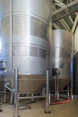 Montsant winery from the cellar of Capcanes in the same village. First fermentation in stainless steel tanks, later in wine barrels. Viticulture is the main economic factor of the region