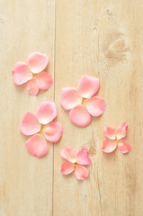 Pink rose petals on a wooden background