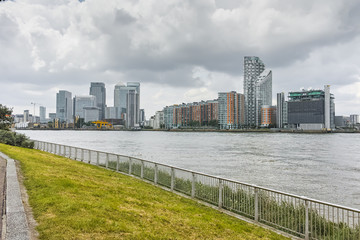 Panorama of Thames river and City of London, England, Great Britain