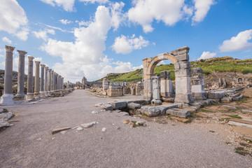 Ruins of ancient city of Perge near Antalya Turkey