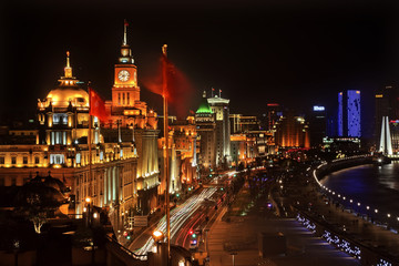 Shanghai Bund at Night China Flags Cars with Trademarks obscured