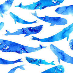 Seamless pattern with aquatic whale.Underwater animal picture.Watercolor hand drawn illustration.White background.