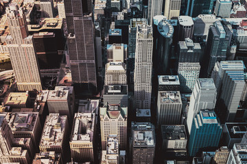 Aerial view - Downtown Skyscrapers with Vintage Colors. Chicago City
