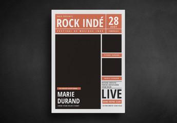 Flyer de style journal pour concert de rock indé