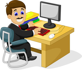 funny businessman cartoon working in his office desk