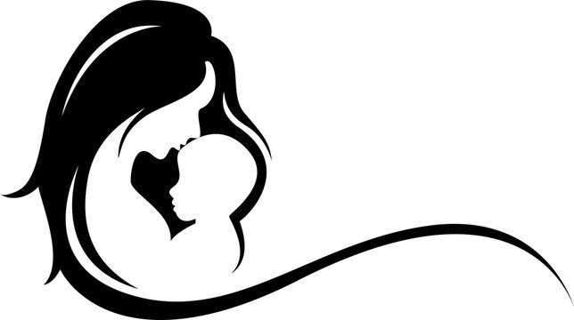 silhouette of mother and baby symbol
