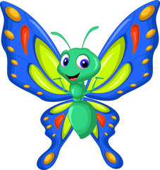 cute butterfly cartoon flying