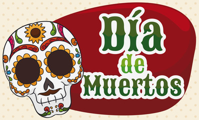 Banner with Colorful Skull for Mexican Dia de Muertos Celebration, Vector Illustration