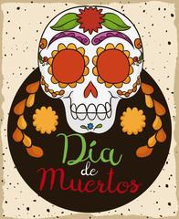 """Traditional Colorful Mexican Skull for """"Dia de los Muertos"""", Vector Illustration"""