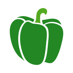 Green bell pepper or sweet capsicum flat icon for food apps and websites