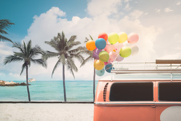Wall Mural - Vintage card of van with colorful balloon on beach blue sky concept of love in summer and wedding honeymoon