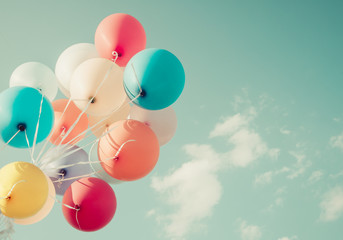 colorful balloons. happy birthday party in summer holidays - vintage pastel color styles.