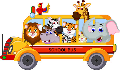 animal cartoon on a school bus