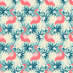 Beautiful seamless pattern with flamingo and tropical plants