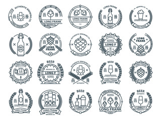Outline colorless vector beer emblems, symbols, icons, pub labels, badges collection.
