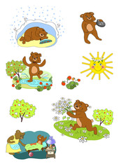 Character Bear, different stories, children's illustration, sticker, badge, card. Bear in a den, sleeping, jumping, smile, sorrow, sun, strawberries, summer, winter, seasons