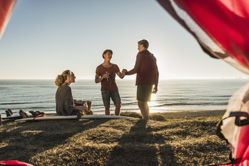 Three friends camping at seaside