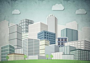 Drawn colorful cityscape