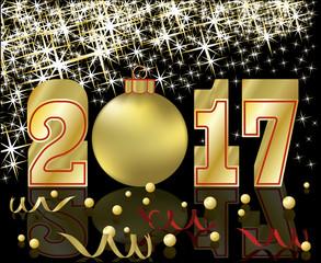 Happy golden New Year 2017, vector illustration