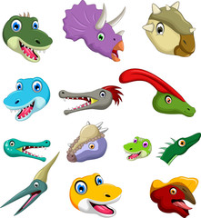 Dinosaur head cartoon collection set for you design
