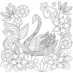 Hand drawn decorated swan into flowers in ethnic style