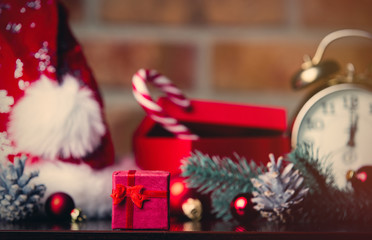 Christmas decoration with Santa Claus hat