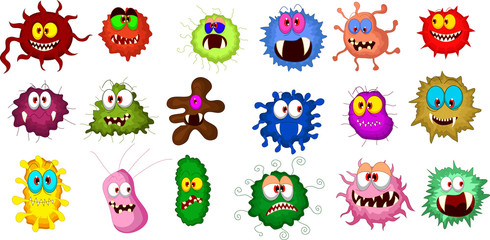 Cartoon bacteria collection set for you design