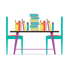 Colorful Chairs And Books On Table Vector Illustration