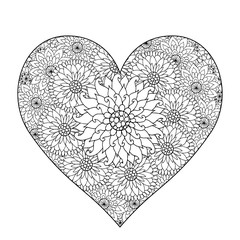 Hand drawn flower heart for adult anti stress.