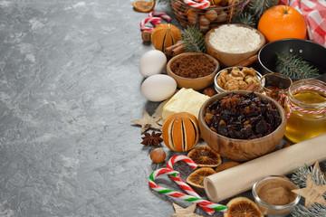 Ingredients to bake traditional Christmas fruit cake