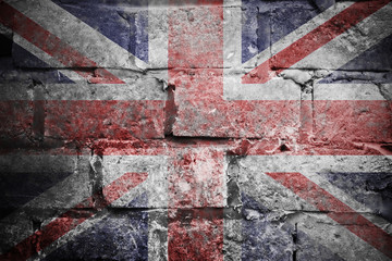 Grungy British Flag on the wall