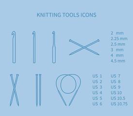 Knitting tool icon set. Minimalism, neat outlines.