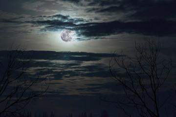 fantasy full moon in dark blue sky