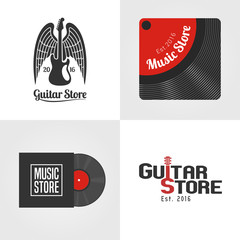 Guitar shop, music store set of vector icon, symbol, emblem, logo