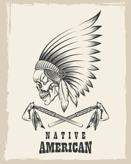 Indian Skull with Tomahawk Emblem