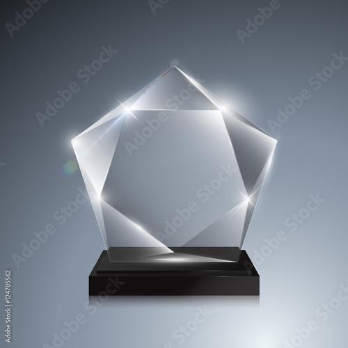Glass trophy award  Vector crystal 3D mockup